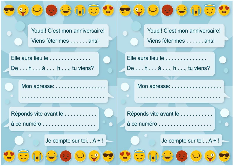 Carte D Invitation D Anniversaire Theme Smiley Et Emoticones