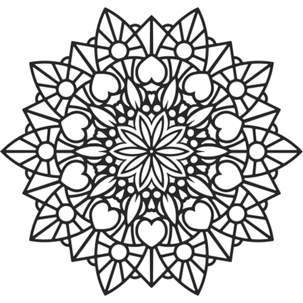 coloriage mandala fleur et coeur en ligne gratuit imprimer. Black Bedroom Furniture Sets. Home Design Ideas