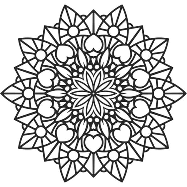 MANDALA FLEUR ET COEUR : Coloriage Mandala fleur et coeur en Ligne Gratuit a imprimer sur ...