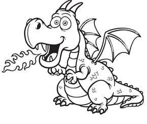 Dragon rose cracheur de feu