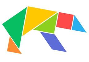 Le tangram niveau facile, un ours