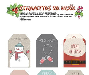 Étiquettes de Noël Merry Christmas