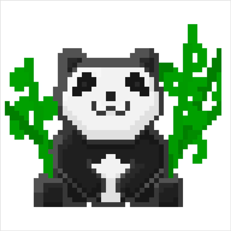 Panda Et Bambous En Pixel Art