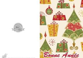 Carte sapins et cadeaux