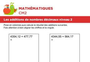 Additions de nombres décimaux niveau 2, exercice 4