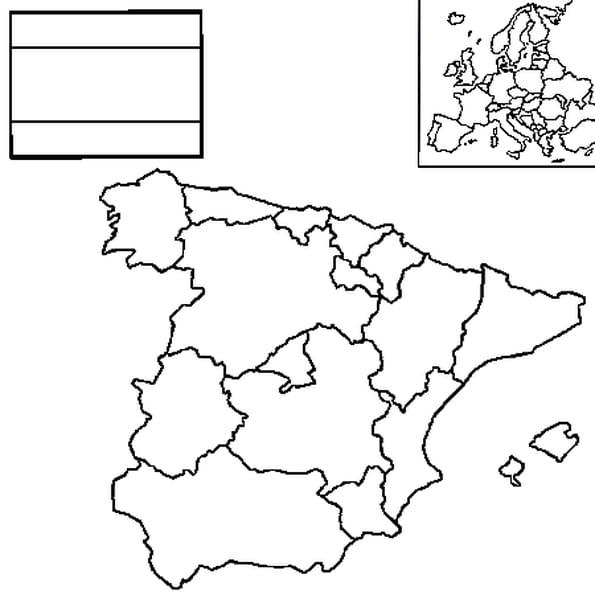 Coloriage carte Espagne en Ligne Gratuit à imprimer