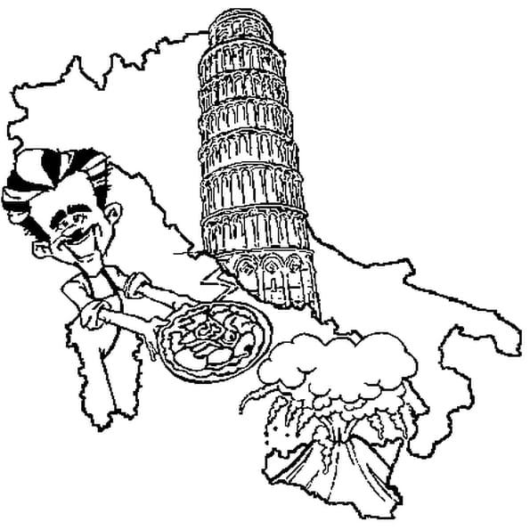 Coloriage Italie en Ligne Gratuit à imprimer