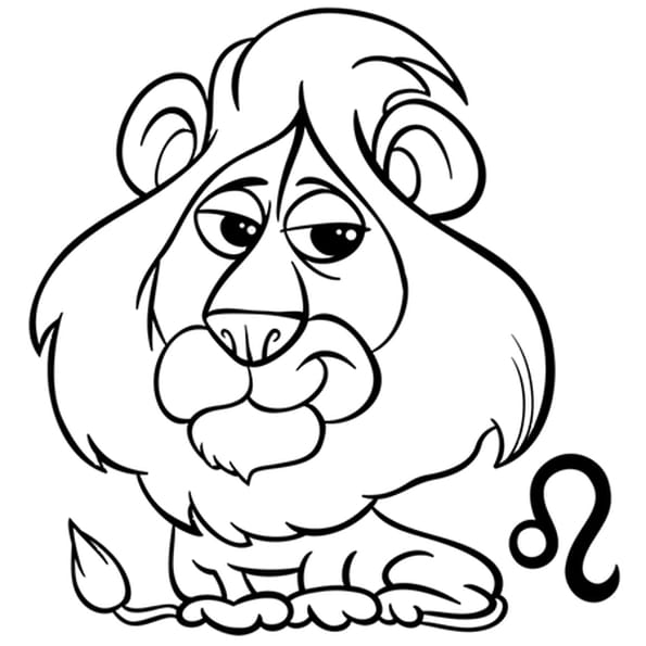 Coloriage Signe du Zodiaque le Lion en Ligne Gratuit à imprimer