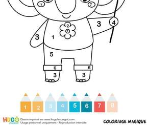 Coloriage magique CP: un éléphant