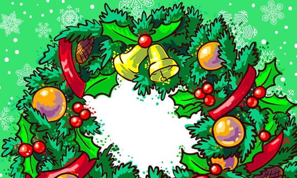 Coloriage Couronnes de Noël