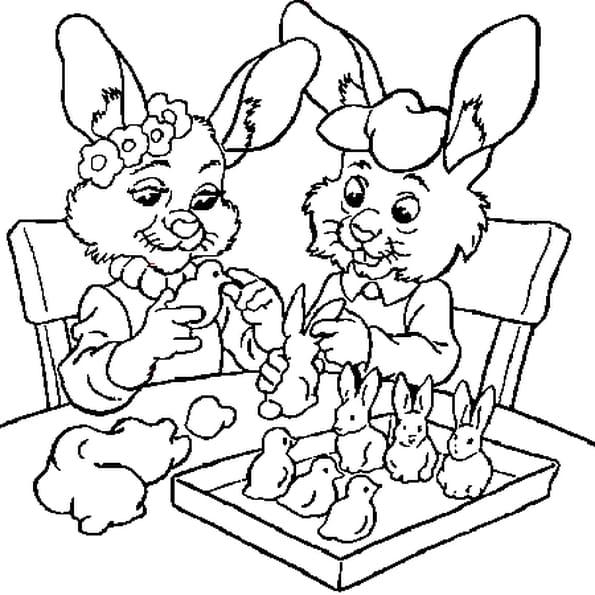 Coloriage lapins pâques en Ligne Gratuit à imprimer