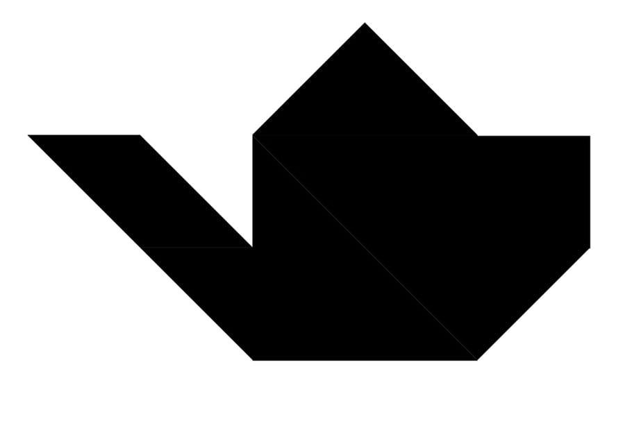Le tangram niveau difficile, une cafetière