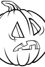 Coloriage Citrouille d'Halloween étonnée en Ligne Gratuit à imprimer