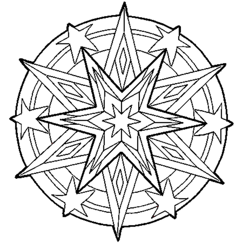 Coloriage Mandala Etoile En Ligne Gratuit A Imprimer