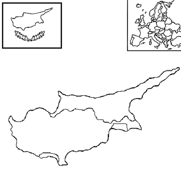 Coloriage carte chypre en Ligne Gratuit à imprimer