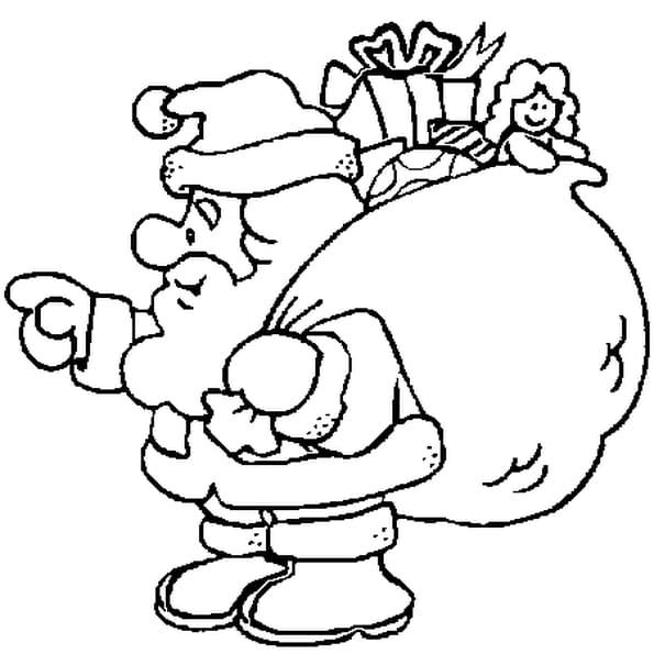 Dessin Hotte Père Noël a colorier