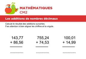 Additions de nombres décimaux niveau 1, exercice 2