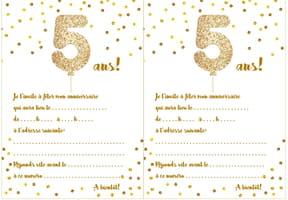 Carte d'invitation d'anniversaire 5ans