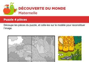 Puzzle 4pièces, maman et bébé girafe