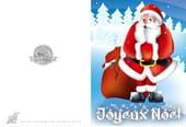 Carte Père Noël dans la neige