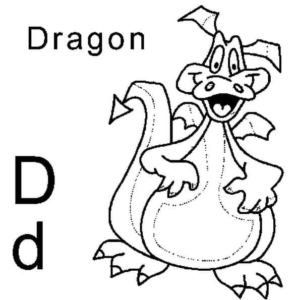 Coloriage lettre D comme dragon en Ligne Gratuit à imprimer