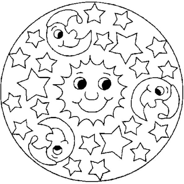 Dessin Mandala Eté a colorier