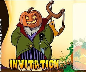 Carte invitation Halloween ogre citrouille