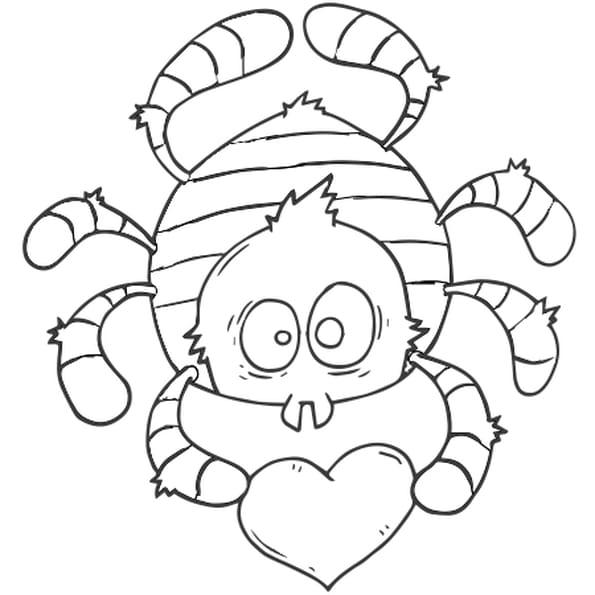 Dessin Araignée coeur rouge a colorier
