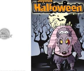 Carte de vœux Halloween loup garou