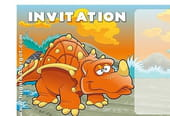 Carte invitation anniversaire dinosaure orange