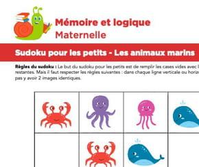 Sudoku pour les petits, les animaux marins