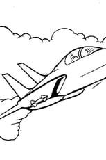 Coloriage Avion de chasse dans les nuages en Ligne Gratuit à imprimer
