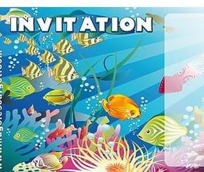 Carte invitation anniversaire poissons colorés