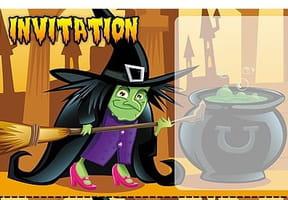 Carte invitation Halloween sorcière et chaudron