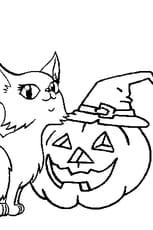 Coloriage Citrouille d'Halloween et chatte