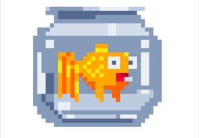 Bocal à poisson en pixel art