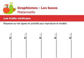 Les bases du graphisme, les traits verticaux niveau 1