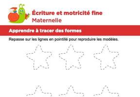 Motricité fine Maternelle, les étoiles dans le ciel