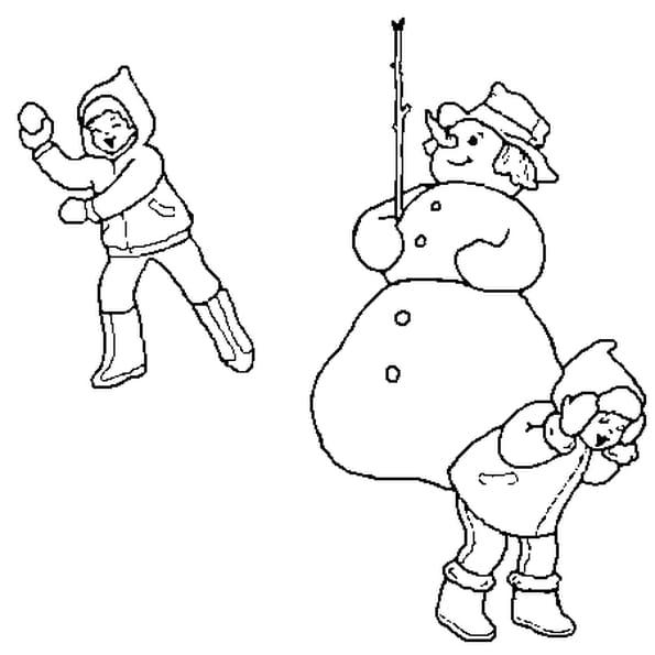 Dessin Bataille de boule de neige a colorier