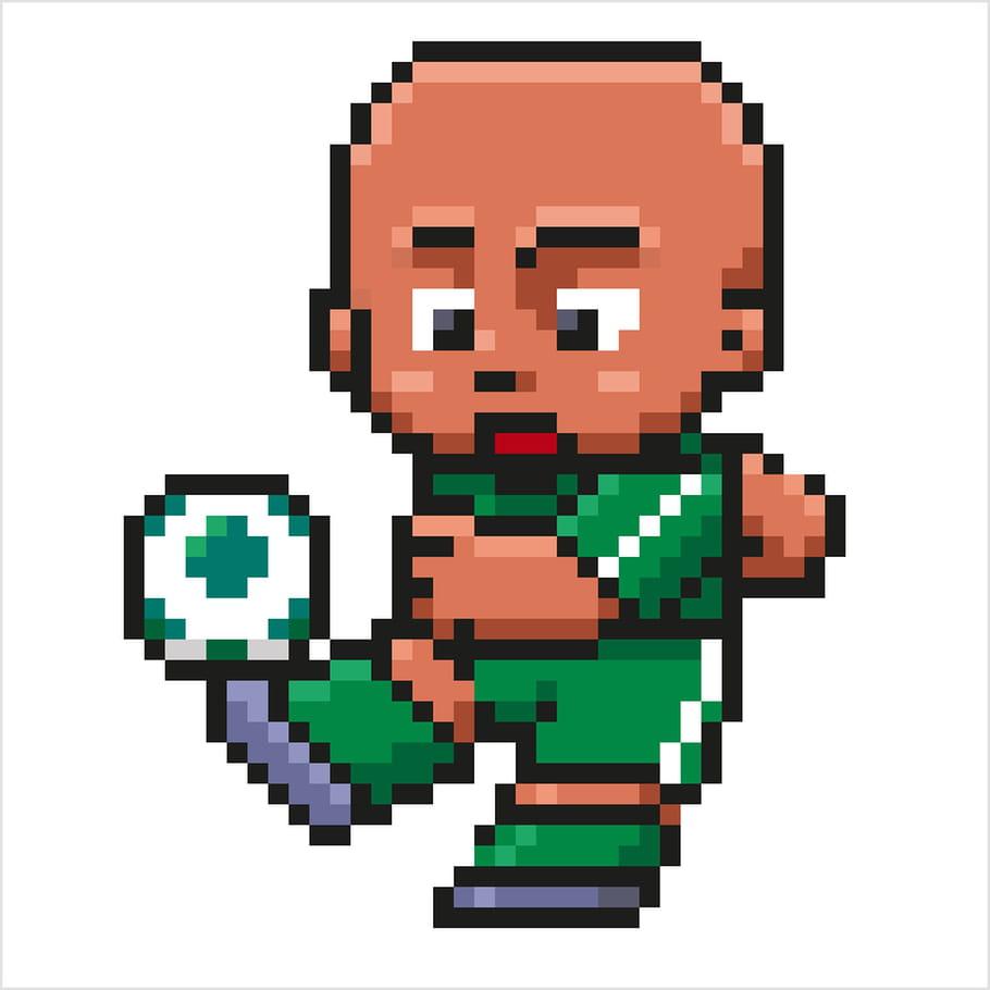 Footballeur Maillot Vert En Pixel Art
