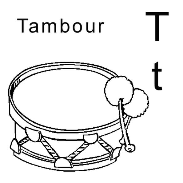 Dessin lettre T comme tambour a colorier