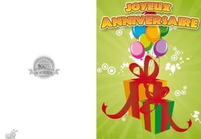 Carte anniversaire cadeaux et ballons