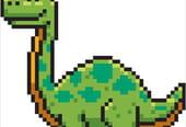 Diplodocus, dinosaure en pixel art