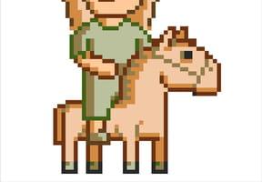 Cavaliere et son cheval en pixel art