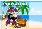 Carte invitation anniversaire pirate sur une île déserte