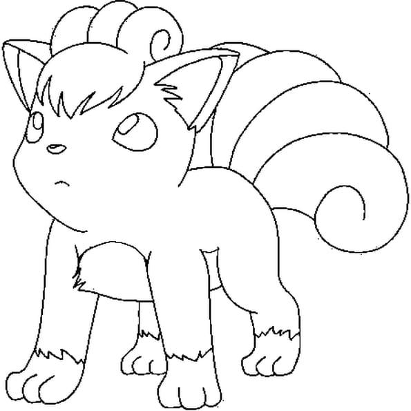 Dessin Pokémon goupix a colorier