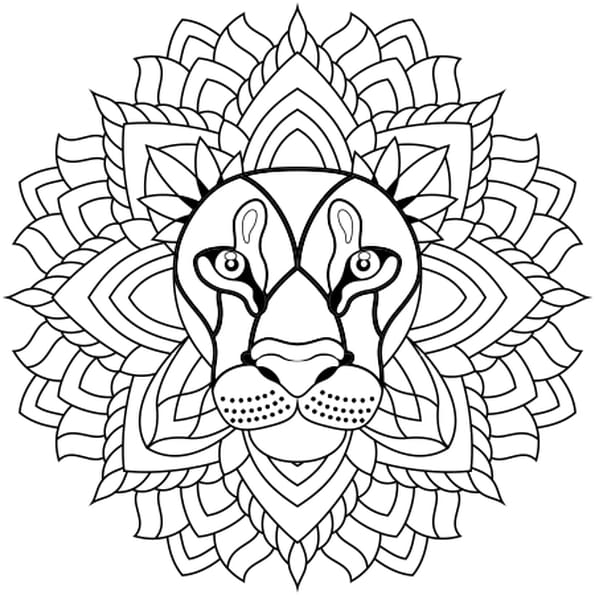 Coloriage mandala lion en ligne gratuit imprimer for Lion mandala coloring pages