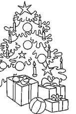 Coloriage Sapin et cadeaux