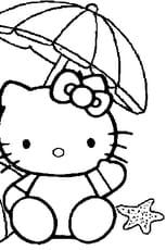 Coloriage Hello Kitty à la plage en Ligne Gratuit à imprimer
