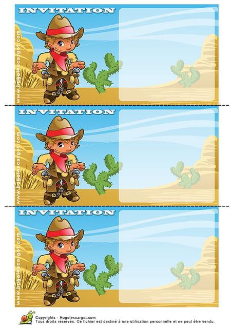 Carte Invitation Anniversaire Western